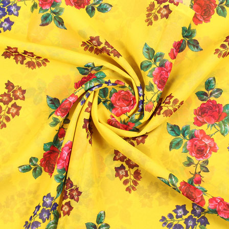 Yellow Red and Brown Flower Georgette Silk Fabric-15100